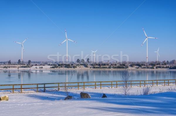Szélturbina tó tél víz tájkép hó Stock fotó © LianeM
