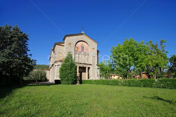 Clusane church Parrocchiale di Cristo Re on Iseo lake in Italy Stock photo © LianeM