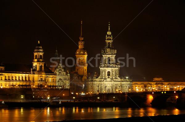 Dresden vuurwerk 12 abstract licht kerk Stockfoto © LianeM