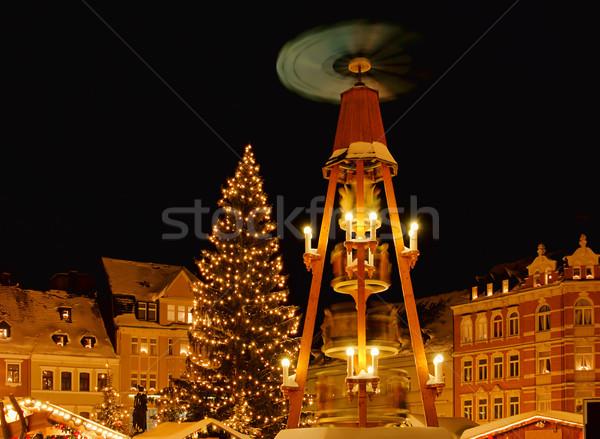 Noël marché 16 bâtiment ville lumière Photo stock © LianeM