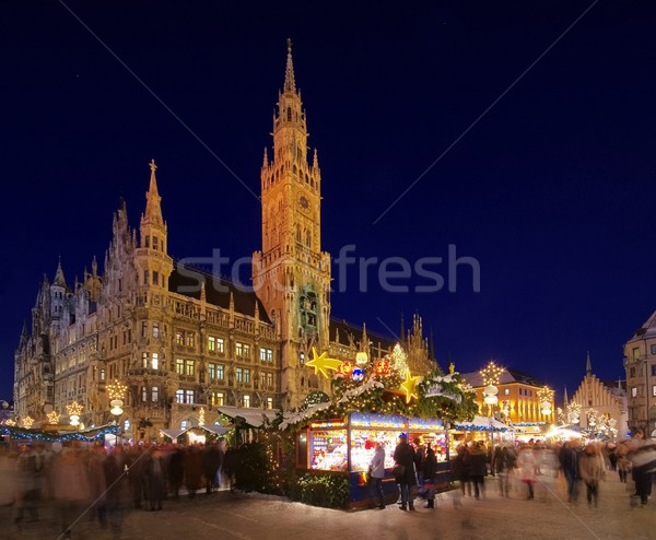 Munique natal mercado edifício cidade luz Foto stock © LianeM