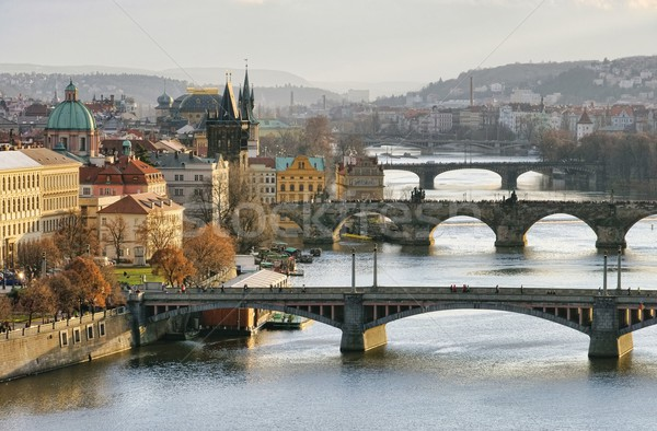 Prague bridges aerial view  Stock photo © LianeM