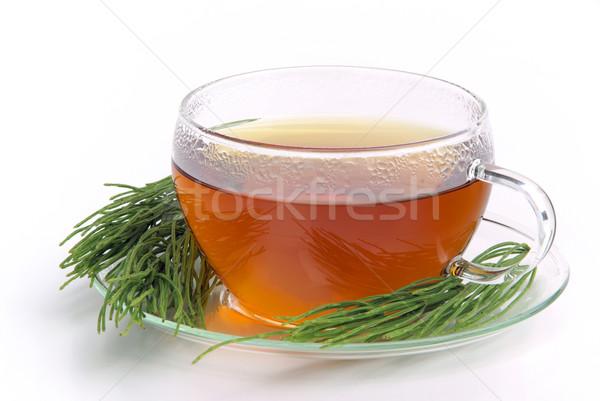 Thee veld glas achtergrond drinken beker Stockfoto © LianeM
