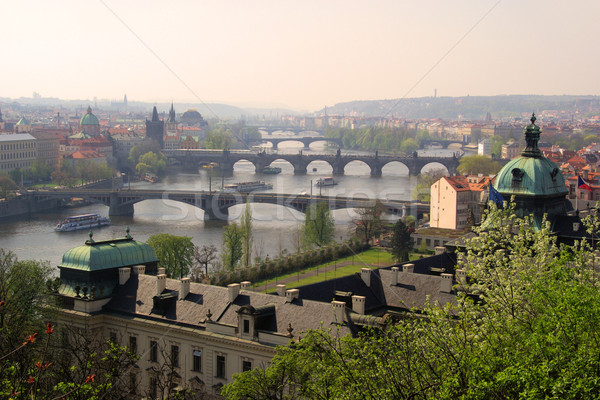 Prague bridges aerial view 06 Stock photo © LianeM