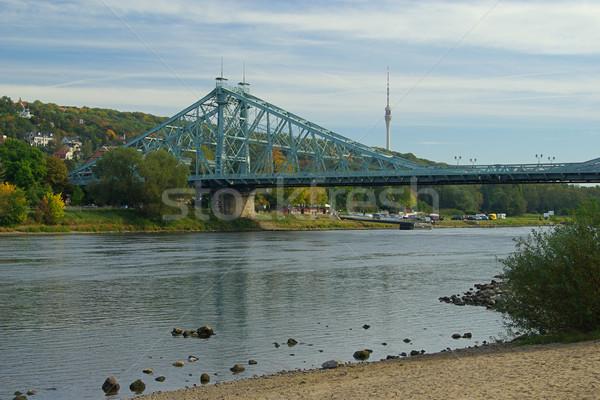 Drezno niebieski zastanawiać się budowy most rzeki Zdjęcia stock © LianeM