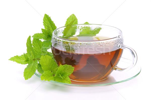 Thé menthe poivrée médicaux verre fond boire Photo stock © LianeM