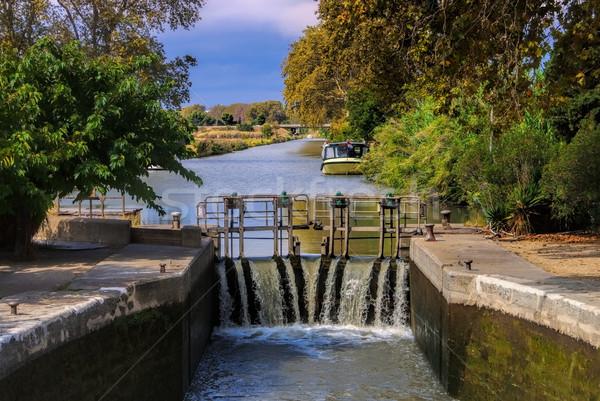 Kanal su kilitlemek Fransa manzara yeşil Stok fotoğraf © LianeM