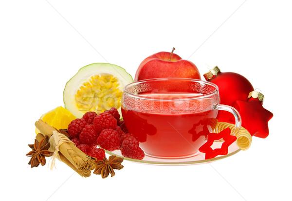 Málna tea alma gyümölcs üveg háttér Stock fotó © LianeM