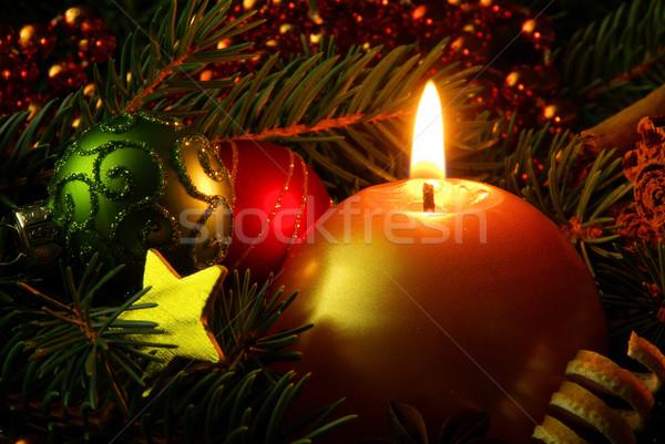 Advento coroa estrela vermelho ouro dom Foto stock © LianeM