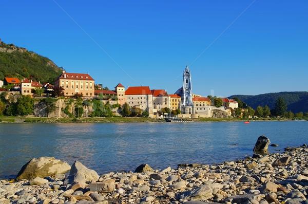 Danúbio Áustria água parede azul linha do horizonte Foto stock © LianeM
