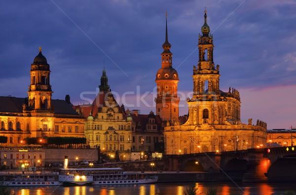 Dresden katholiek rechter kerk nacht hemel Stockfoto © LianeM