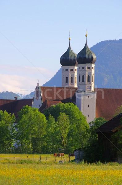 Stockfoto: Abdij · berg · toren · weide · Duitsland · alpen