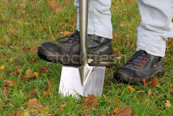 Spade gras werk aarde schoenen tools Stockfoto © LianeM