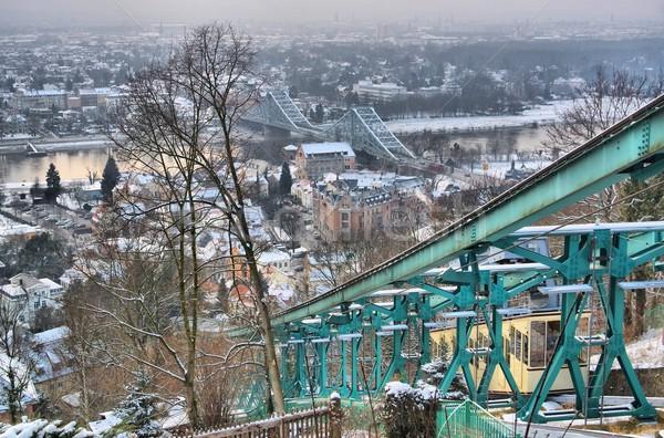 Dresde bleu se demander hiver pont rivière Photo stock © LianeM