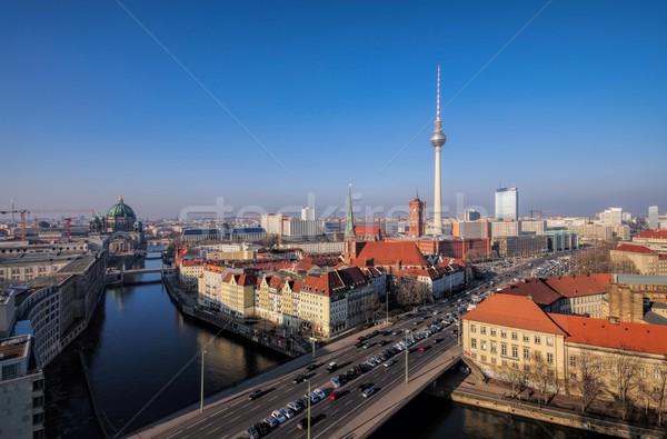 Berlin víz ház épület templom sziluett Stock fotó © LianeM