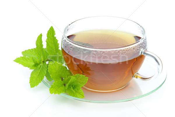 Thé menthe poivrée verre fond boire tasse Photo stock © LianeM