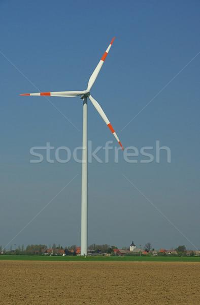 ветровой турбины На 25 пейзаж зеленый синий промышленности Сток-фото © LianeM