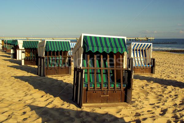 Leżak drewna morza lata niebieski podróży Zdjęcia stock © LianeM