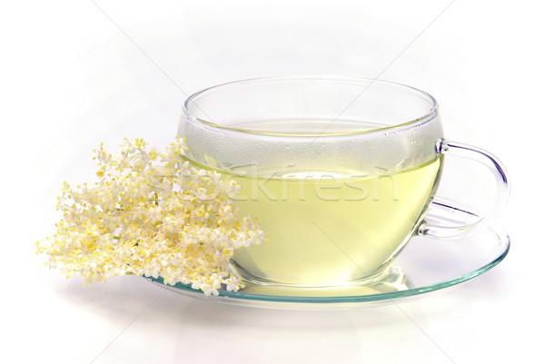 Tee Holunder Blume Glas Hintergrund grünen Stock foto © LianeM