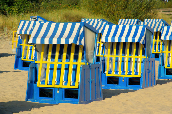 şezlong ahşap deniz yaz mavi seyahat Stok fotoğraf © LianeM