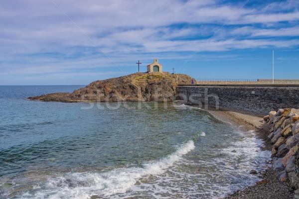 the town Collioure, Ilot St-Vicent chapel in France Stock photo © LianeM