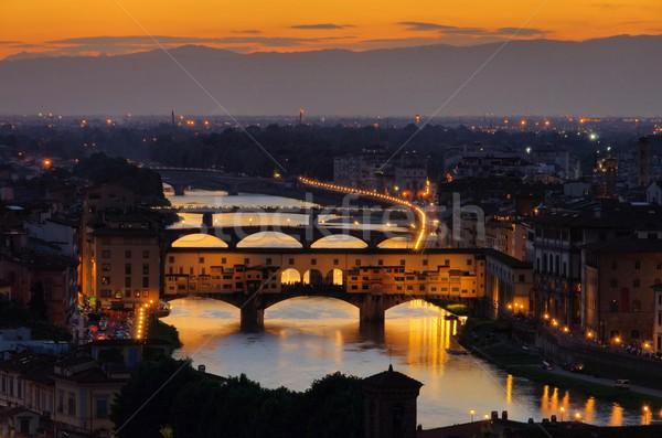 Floransa köprü su Bina seyahat gece Stok fotoğraf © LianeM