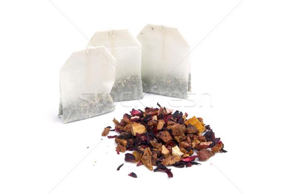 Stock fotó: Tea · gyümölcs · 13 · gyümölcsök · táska · fehér