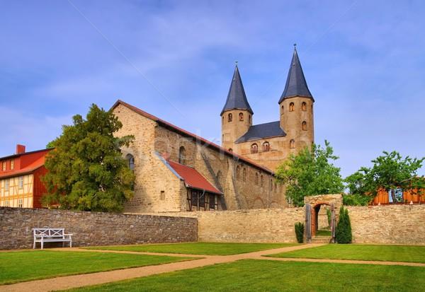 Abdij kerk park stad Duitsland klooster Stockfoto © LianeM