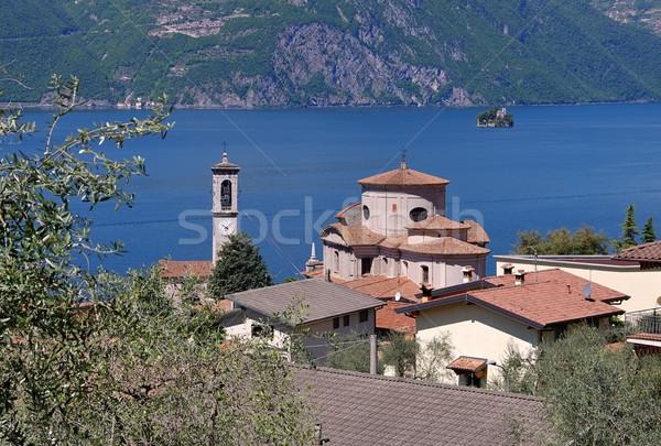 Sale Marasino Chiesa di San Zenone on Iseo lake, Lombardy Stock photo © LianeM