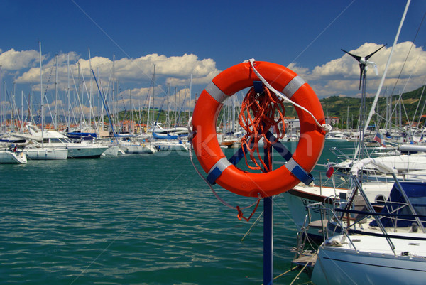 Marina bleu Voyage navire rouge vent Photo stock © LianeM