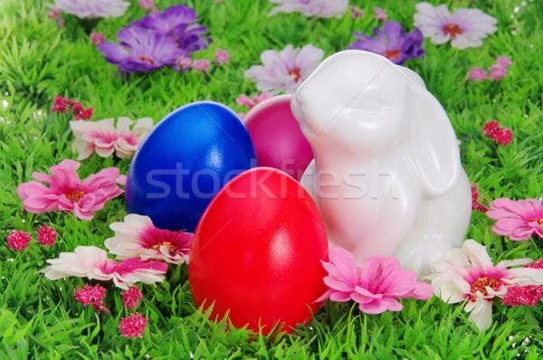 easter eggs on flower meadow 28 Stock photo © LianeM