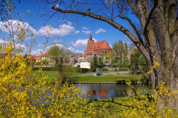 Kerk boom baksteen architectuur Europa Geel Stockfoto © LianeM