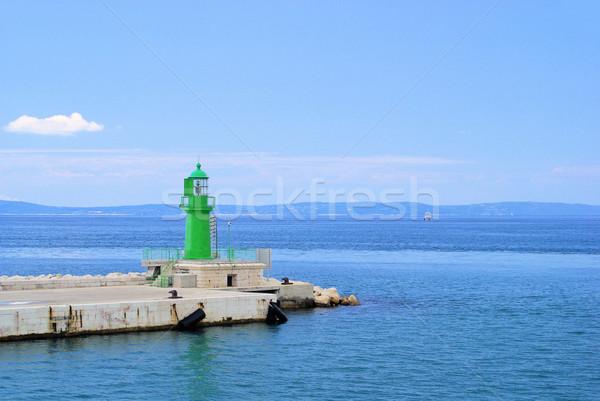 Foto stock: Pier · farol · mar · verde · ondas · europa