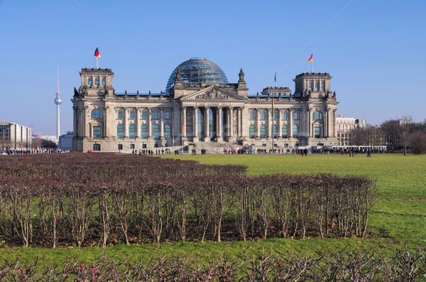 Berlín edificio bandera arquitectura Europa Alemania Foto stock © LianeM