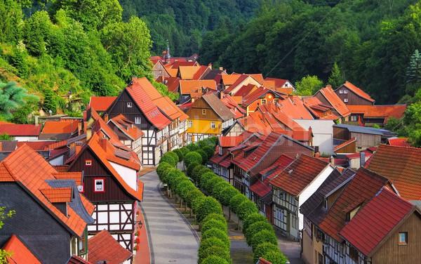 Casa strada montagna montagna skyline città Foto d'archivio © LianeM