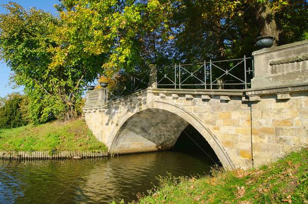 английский лист саду моста озеро реке Сток-фото © LianeM