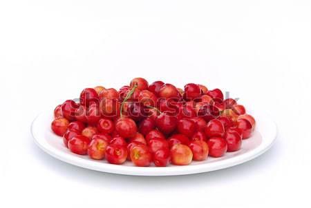 Ciliegio 13 rosso piatto ciliegie Berry Foto d'archivio © LianeM