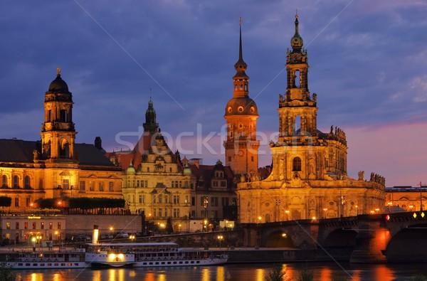 Dresden Catholic Court Church night  Stock photo © LianeM