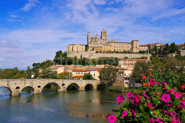 Cathedral and  the River Orb in Beziers, France Stock photo © LianeM