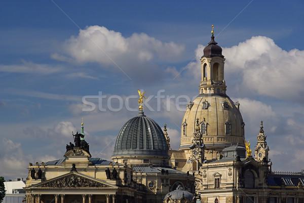 ドレスデン 教会 女性 18 スカイライン 雲 ストックフォト © LianeM