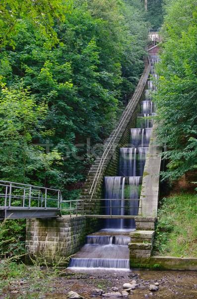 Kaskade Wasser Wand Macht Anlage weiß Stock foto © LianeM