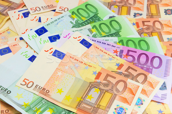 Pénz üzlet bank Euro jegyzet pénzügyi Stock fotó © LianeM