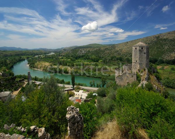 14 berg Blauw kasteel track heuvel Stockfoto © LianeM
