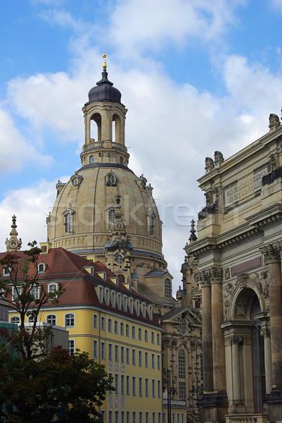 Dresden kilise bayan 19 ufuk çizgisi bulut Stok fotoğraf © LianeM