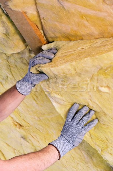 Mineral rock Wolle Haus Gebäude Mann Stock foto © LianeM