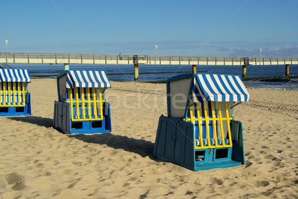 Napozószék 15 fa tenger nyár kék Stock fotó © LianeM