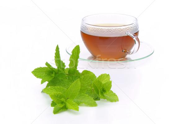 Tea borsmenta 12 orvosi üveg háttér Stock fotó © LianeM