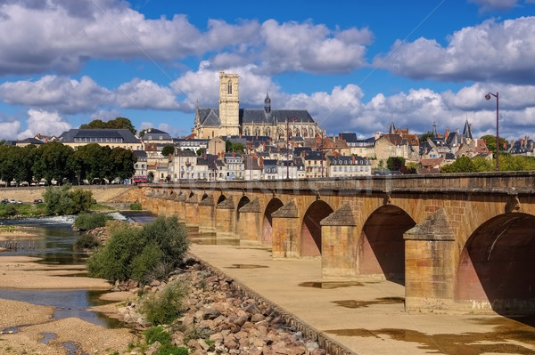 Nevers in Burgundy, cathedral and river Loire Stock photo © LianeM