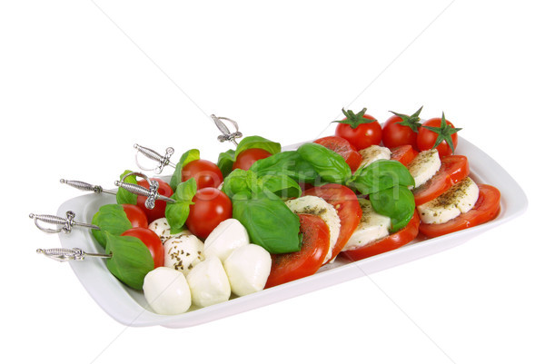 Spugen mozzarella blad kaas bal Rood Stockfoto © LianeM