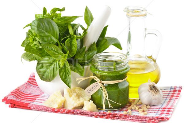 Pesto yeşil sos cam kavanoz malzemeler Stok fotoğraf © lidante